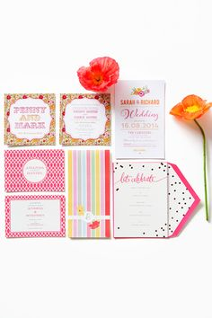 Bright and colourful wedding invitations