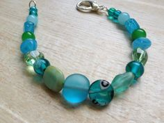 Ocean Sea Glass Bracelet, Blue and Green, Beach Jewelry, Large Lobster Claw Closure by BeachDaisyJewelry on Etsy