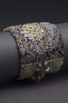 Concentric Couture Cuff – ANDREA GUTIERREZ JEWELRY. No interest in making this sort of beading work, but it's absolutely gorgeous!