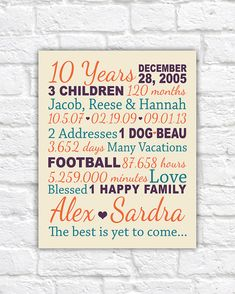 Anniversary Gift for 10 Years, 20 years, Gifts for Him, Paper, Canvas Anniversary, 10th Anniversary Present, Kids Names, Anniversary Family