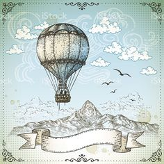 Vintage Hot Air Balloon royalty-free vintage hot air balloon stock vector art & more images of backgrounds Hot Air Ballon Drawing, How To Draw Balloons, Fire Balloon, Air Balloon Tattoo, Free Vector Art, How To Draw Hands, Doodles, Retro, Design