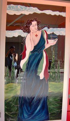 Donna liberty con tazza Dipinto su vetri di bar - Firenze.