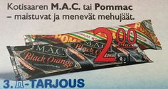 M.A.C. ja Pommac -mehujäät Good Old Times, My Childhood Memories, Finland, Retro Vintage, Haku, Nostalgia, The Past, Candy, History