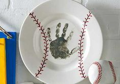 Father's Day Baseball Handprint Plate from Plaid Crafts Diy And Crafts, Crafts For Kids, Arts And Crafts, Baby Crafts, Toddler Crafts, Craft Gifts, Diy Gifts, Xmas Gifts, Cadeau Parents