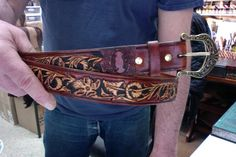 Belt / Leather / Women / Men / Sheridan / Hand Carved and Tooled / Western / Hand made / Custom / Leather Belt