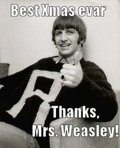 Beatles and Harry Potter! Fantastic. (still want a weasley sweater...it will happen one day)