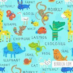 You can buy this pattern here: https://www.fabric.com/buy/0478636/comfy-flannel-animals-light-turquoise?cm_mmc=pinterest-_-social-_-product-_-0478636 #berreca #safari #safarianimals #surface #surfacepattern #desing #illustration #illustrator #elephant #giraffe #butterfly #crocodile #snail #monkey #drawing #rabbit