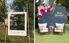 DIY Photo Backdrops: All wedding events have one thing in common: lots of pictures. Make a cute DIY photo backdrop to remember the event. Either in a adorable oversized Polaroid Rustic Wedding Signs, Chalkboard Wedding, Diy Wedding, Wedding Events, Wedding Ideas, Rustic Signs, Gold Wedding, Wedding Parties, Wedding Gifts