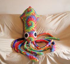 Tall Paul the Giant Rainbow Tie Dyed Fleece Plush Squid - Stuffed Marine Animal Large. $125.00, via Etsy.
