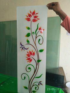 Etched Glass Door, Glass Doors, Glass Painting Designs, Paint Designs, Rangoli Side Designs, Window Glass Design, Glass Corner Shelves, Front Door Design Wood, Ganesha Tattoo