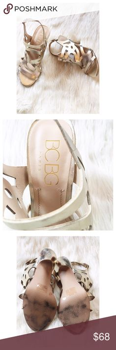 "Flash Sale! Matte Gold BCBG Sandals This listing is for a pair of matte gold BCBG sandals in excellent condition. BCBG Paris. All man made materials. Size 6. Heel is 4"". BCBG Shoes Sandals"