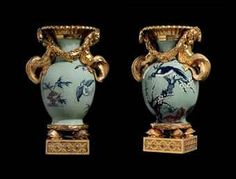 "A Near Pair Of Late Louis XV Ormolu-Mounted Chinese Celadon Porcelain Vases Aux Tritons, Auianlong (1736-1795), Mounts Ca1770 France. 13.75""H."