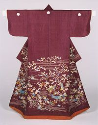 Philadelphia Museum of Art - Collections Object : Woman's Kimono (Kosode), Late 19th century, Printed silk with silk embroidery and couched gold thread.