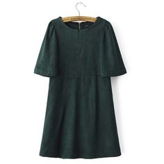 Green Suede Puffy Sleeves Vintage Mini Dress (1 045 UAH) ❤ liked on Polyvore featuring dresses, bottle green, mini dress, vintage dresses, short green dress, puffed sleeve dress and puff shoulder dress