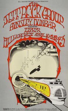 Original Vintage Bill Graham BG # Poster by Randy Tuten for Jeff Beck Group, Aynsley Dunbar Retaliation, Zephyr at Fillmore West Poster Retro, Vintage Concert Posters, Vintage Posters, Gig Poster, Rock Posters, Band Posters, Event Posters, Jeff Beck Group, Art Hippie