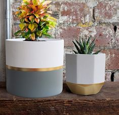 White Ceramic Flower Pot Garden Planters Inch Pack 2 Indoor, Plant Containers with Gold and Grey Detailing