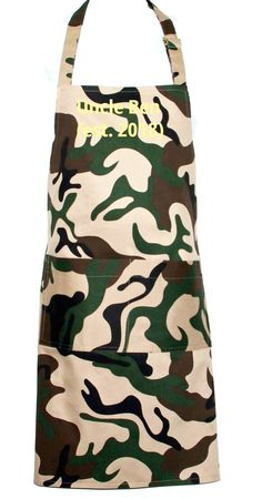 Camouflage Camo Apron, Established, BBQ Chef Full Long Bib, Dad, Hubby, Custom Uncle Gift, Personalized With Name, Ships TODAY AGFT 1119 Uncle Birthday Gifts, Uncle Gifts, Personalized Birthday Gifts, Funny Birthday, Selling Handmade Items, Handmade Shop, Etsy Handmade, Funny Aprons, Custom Aprons