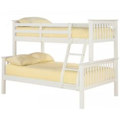 Just Kids Perfect for fun sleepovers or for your kids' shared room, this bunk bed features a space-saving design. Colour: Solid Off - White Trio Bunk Beds, Cabin Bunk Beds, White Bunk Beds, Bunk Beds With Drawers, Futon Bunk Bed, Bunk Beds With Storage, Bunk Bed With Trundle, Modern Bunk Beds, Bunk Beds With Stairs