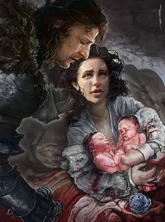 """Lya with the newly-born Jon Snow/Stark/Targaryen and Meera """"Reed"""". Which is an old theory, much-discussed on here in the past, but a good one. Remember, we know nothing about Meera's mother. Hiding her at Greywater Watch would certainly make sense and Howland Reed (the only other survivor of the Tower of Joy apart from Eddard) owed Lyanna a debt for the Mystery Knight episode during the Tourney at Harrenhal some time earlier. And Ned returning home from the Rebellion with TWO bastards ..."""