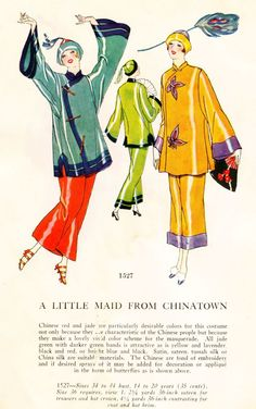 """A Little Maid from Chinatown"" masquerade pattern, c. 1920's."