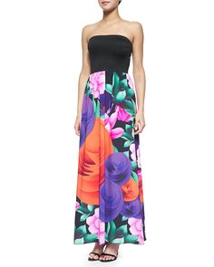 Lotus Garden Strapless Maxi Dress, Multi Colors - Clover Canyon