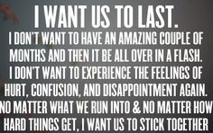 I want us to stick together.