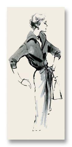 Evie Notecard vintage fashion illustration by my late mom, Hilda Glasgow $5