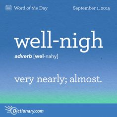 Dictionary.com's Word of the Day - well-nigh - very nearly