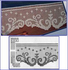 Meninas! Peguem uma linha , na cor de sua preferência e contornem as curvas desses barrados de crochê. Ficará mais bonitos do que j... Crochet Doily Diagram, Filet Crochet, Crochet Borders, Crochet Doilies, Crochet Lace, Dentelle Au Crochet, Smocking Plates, Lace Curtains, Cross Stitch Embroidery