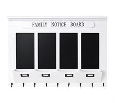 """Stor tavle med hylle og kroker - """"Family Board"""""""