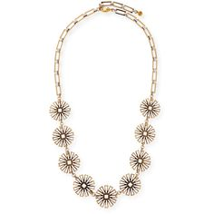 Lulu Frost Daisy Long Floral-Station Necklace ($350) ❤ liked on Polyvore featuring jewelry, necklaces, gold, daisy flower jewelry, silver tone necklace, lulu frost, long necklace and flower jewelry