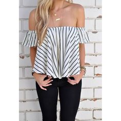 This summer blouse is amazing! With sexy off shoulder, vertical stripe print and short sleeves design, it's pretty chic and stylish. Its relaxed waist and slightly draped hem will bring you relaxation