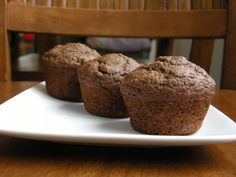 Whole wheat, fat-free vegan chocolate zucchini muffins (Happy Herbivore)  (try without chocolate)