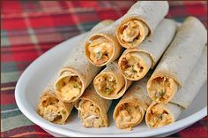 Baked Chicken Taquitos - these give the fried version a run for its money food-porn-dinner I Love Food, Good Food, Yummy Food, Tasty, Yummy Treats, Mexican Dishes, Mexican Food Recipes, Baked Chicken, Chicken Recipes