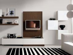 meuble de salon blanc avec des étagères en bois et des modules blancs