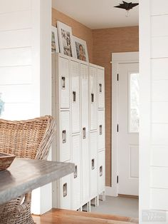 Incorporate metal lockers into your living room, entryway, bedroom, and beyond....