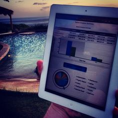 Mobile BI with SAP BusinessObjects by the pool.