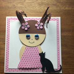 Kort / card Pige / Girl Kat / cat Hjemmelavet / homemade 10,5x10,5