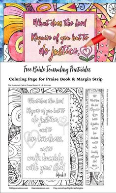 Free coloring page and Bible journal margin strip. Page fits Illustrated Faith Praise Book #freeprintable #BibleJournaling #Praisebook