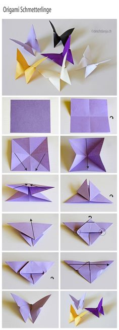 1. Fold paper in half both ways and turn over. 2. Fold diagonaly both ways. 3. Push two opposite sides together and flatten to a triangle. 4. Fold both upper layers to the midline above and turn form over with top down. 5. Fold the top over the bottom edge, so the tip sticks out a little bit. Not flatten the raised edges (circle). 6. Fold the tip over the side and turn the form over. 7. Fold in half along the centre line bringing both wings together.
