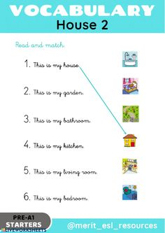 House - Read and match - Interactive worksheet Kids English, English Class, English Lessons, English Grammar, Teaching English, Sentence Building, Teaching Skills, 1st Grade Worksheets, Eighth Grade