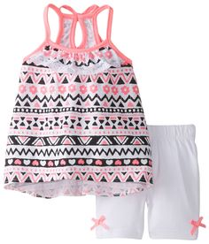 Little Lass Baby Girls' Printed Knit Keyhole Back Detail Bike Short Set, Hot Pink, 24 Months