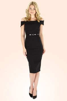 The Pretty Dress Company - Bardot Off Shoulder pencil dress in Black