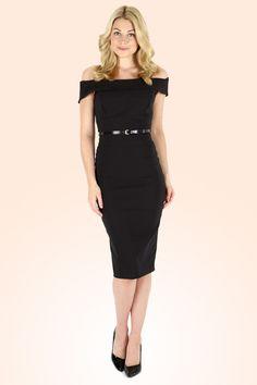 The Pretty Dress Company - Bardot Off Shoulder pencil dress in Black