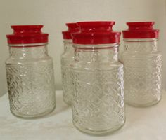 Vintage Etched Glass Red Top Canister Set by TreasuresFromUs