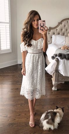 101c66c8770 A-Line Spaghetti Straps Cold Shoulder White Lace Homecoming Dress
