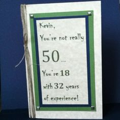 50th Birthday card, humorous, masculine and personalized. In antique ivory, navy and green with silver brads.