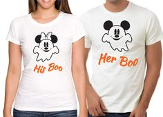 Personalized Couples Disney Halloween Tee Shirts / Customized Couples Mickey Minnie Halloween Shirts / His Boo Her Boo / Ghost