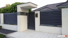 House Fence Design, Front Wall Design, Exterior Wall Design, Garden Wall Designs, Door Gate Design, Garage Door Design, Entrance Design, Small House Design, House Entrance
