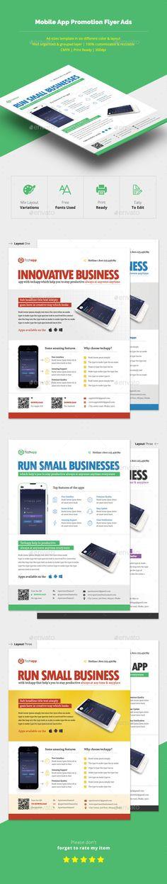 Mobile App Promotion Flyer Ads Template PSD #design Download: http://graphicriver.net/item/mobile-app-promotion-flyer-ads/14015669?ref=ksioks